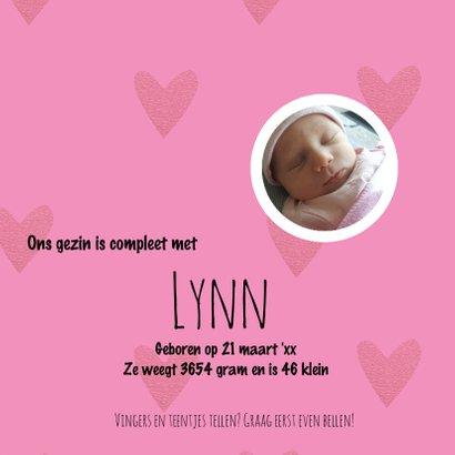 Lieve geboortekaart met foto cirkels en hartjes roze 3