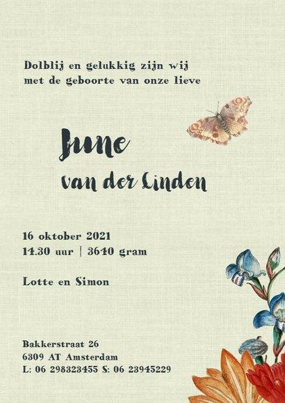 Geboortekaart met vintage bloemen en vlinders 3
