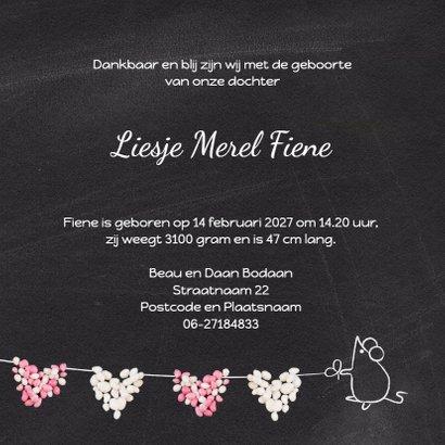 Geboortekaart muisjes roze hart 3