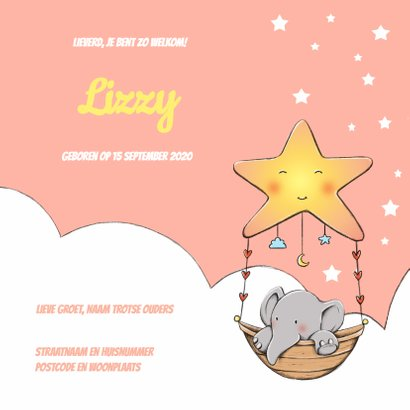 Geboortekaart olifantje Lizzy IH 3