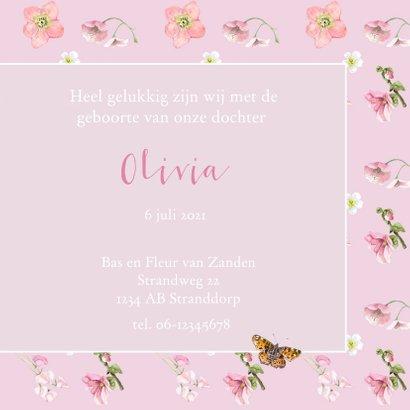 Geboortekaart  Roze bloemen vlinder 3