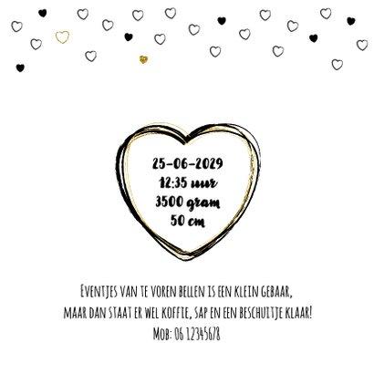 Geboortekaart, stoer met zwarte en gouden hartjes 2