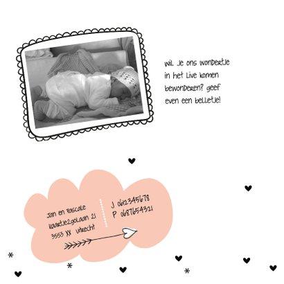 Geboortekaart Wolkje peach 2