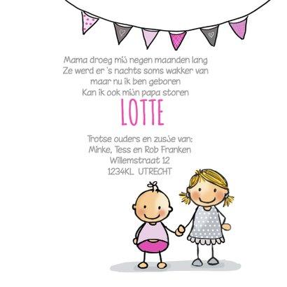 Geboortekaart zusje kinderwagen  3