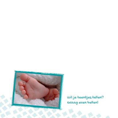 Geboortekaartje aqua ruitjes 2