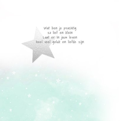 Geboortekaartje aquarel foto's ster jongen 2
