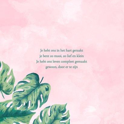 Geboortekaartje botanical roze aquarel 2