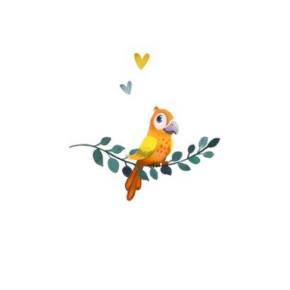 Geboortekaartje bohemian met geïllustreerd vogeltje  2