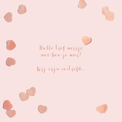 Geboortekaartje confetti hartjes roze 2