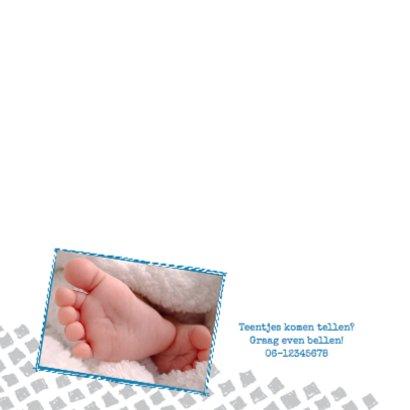 Geboortekaartje foto grijze ruit 2