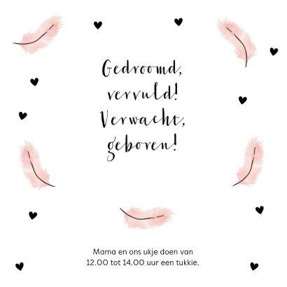 Geboortekaartje foto roze veertjes hartjes 2