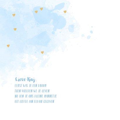 Geboortekaartje fotocollage aquarel hartjes blauw 2