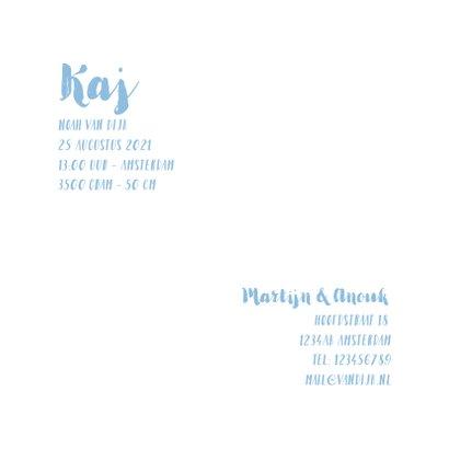 Geboortekaartje fotocollage aquarel hartjes blauw 3