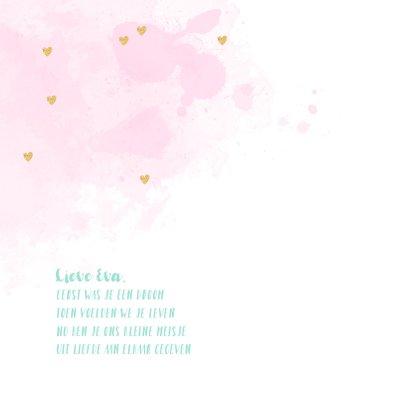 Geboortekaartje fotocollage hip aquarel hartjes 2