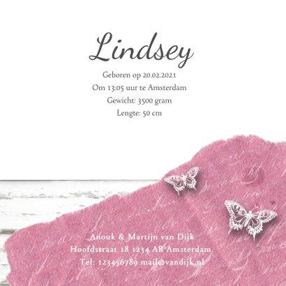 Geboortekaartje fotolijstje vlinders hartjes roze 3