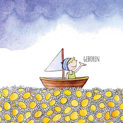 Geboortekaartje getekend bootje bloemenzee 2