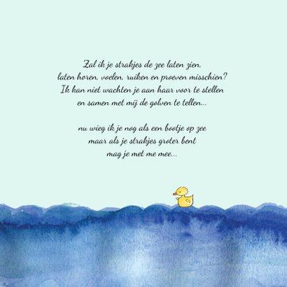 Geboortekaartje getekend bootje op zee blond meisje 2