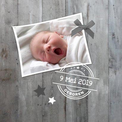 Geboortekaartje Grijs Hout 1LS3 2