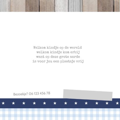 Geboortekaartje Guus hout labels 2