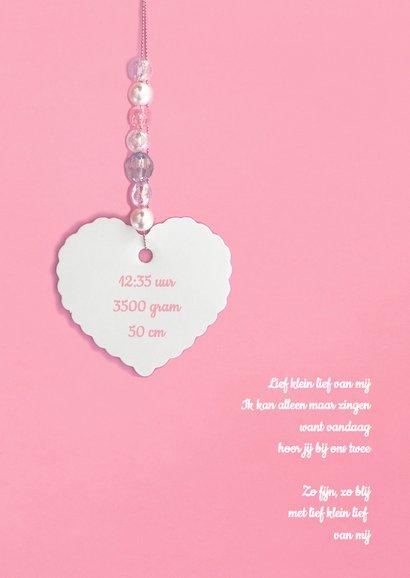 Geboortekaartje hartje label kralen roze 2