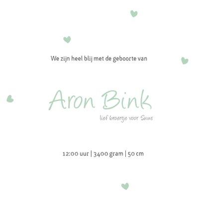 Geboortekaartje hartjes groen 3