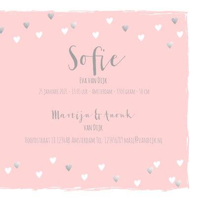 Geboortekaartje hartjes hip roze en zilver 3