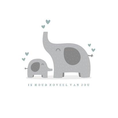 Geboortekaartje jongen met olifantjes en hartjes 2