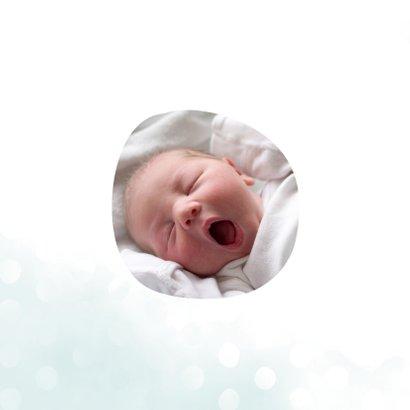 Geboortekaartje jongen met waterverf en stippen vierkant 2