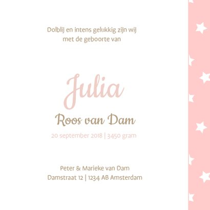 Geboortekaartje Julia sterren 3