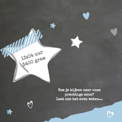 Geboortekaartje krijtbord blauw - Siem 2