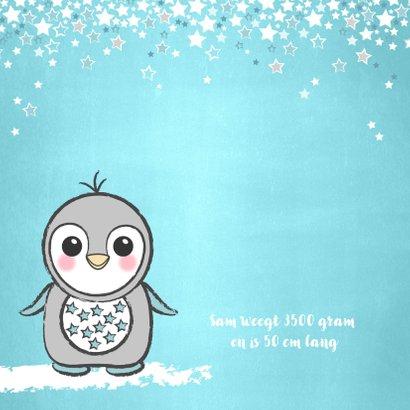 Geboortekaartje lief blauw kaartje met een pinguïn 2