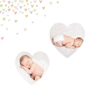 Geboortekaartje lief meisje met hartjesregen en foto's 2