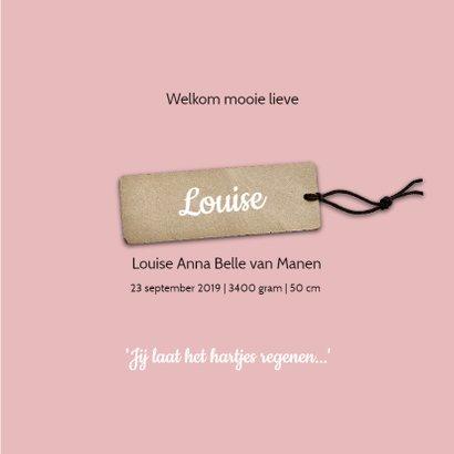 Geboortekaartje Louise hartjes 3