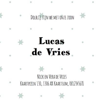Geboortekaartje Lucas clean sterren- LO 3