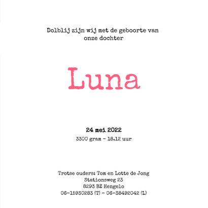 Geboortekaartje Luna stipt 3