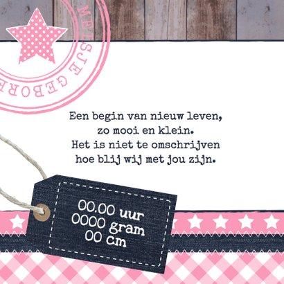 Geboortekaartje meisje label hout 2