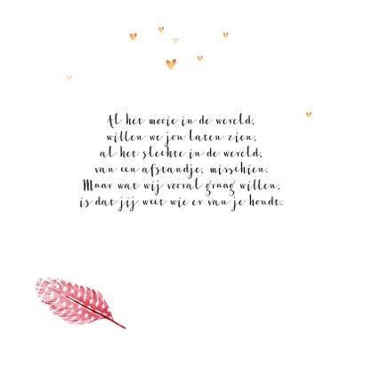 Geboortekaartje meisje lief foto roze veertjes goud hartjes 2