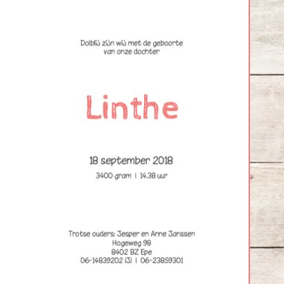 Geboortekaartje meisje Linthe 3