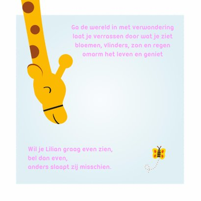 Geboortekaartje meisje met giraf 2