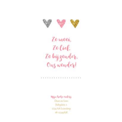 Geboortekaartje meisje met glitter hartjes 2