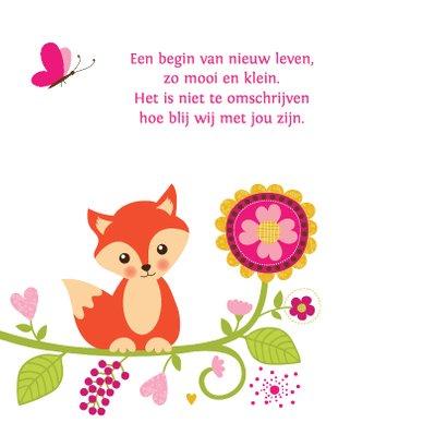 Geboortekaartje meisje vos bloemen 2