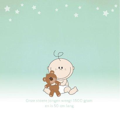 Geboortekaartje met een schattige baby met knuffelbeer  2