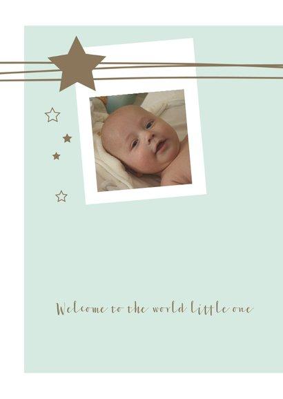 Geboortekaartje met foto, lijnen, sterren voor een jongen 2