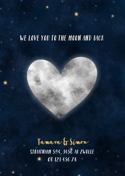 Geboortekaartje met maan in hartvorm, sterren en waterverf 2