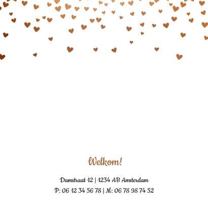 Geboortekaartje met rose gouden hartjes 2