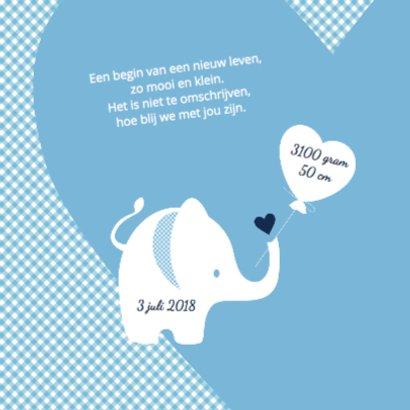 Geboortekaartje olifantje blauw - lovz 2
