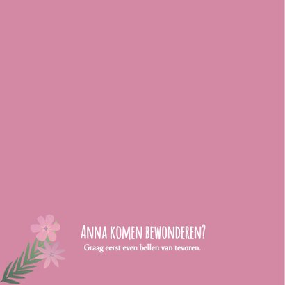 Geboortekaartje roze bloemetjes en foto 2