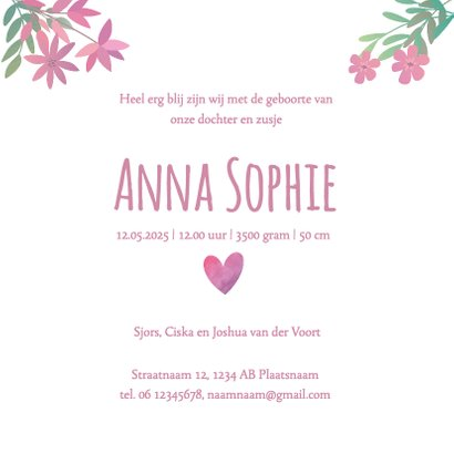 Geboortekaartje roze bloemetjes en foto 3
