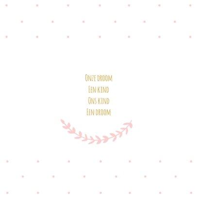 Geboortekaartje roze stipjes takje 2
