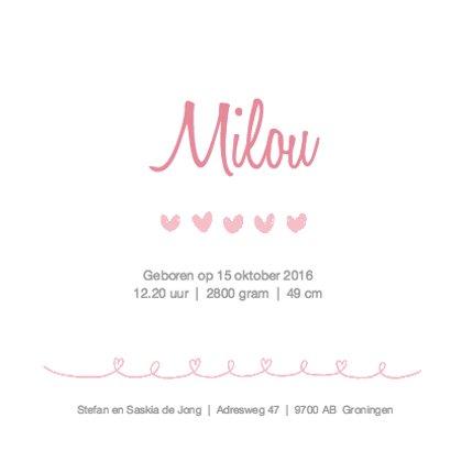Geboortekaartje rustig roze  3